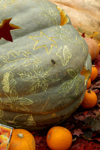 This pumpkin was decorated with a leaf design using a linoleum cutter.