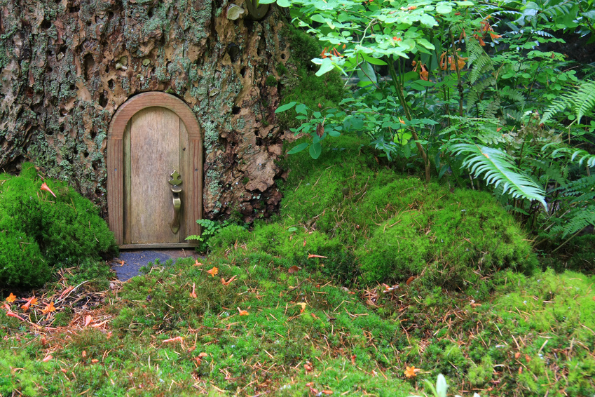 This woodland garden incorporates a single element, a fairy door.