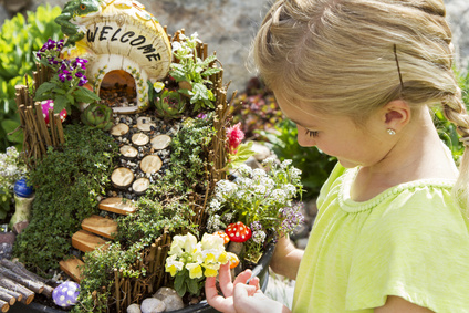 Container fairy gardens provide a great opportunity to involve children.